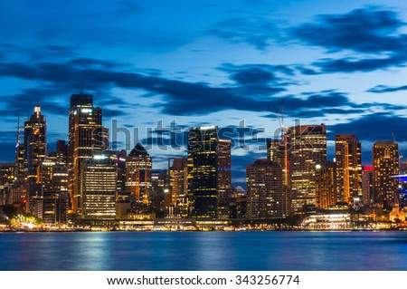 View over Sydney Business District and King Street wharf at night #343256774
