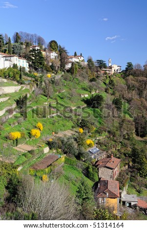 View over terraced gardens to San Vigilio, Bergamo, Lombardy, Italy, Europe.