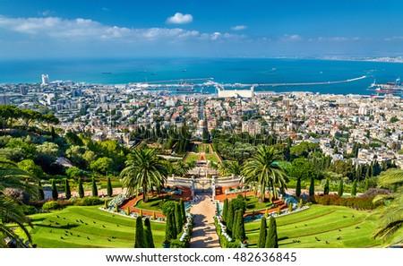 View over the Bahai Gardens in Haifa - Israel