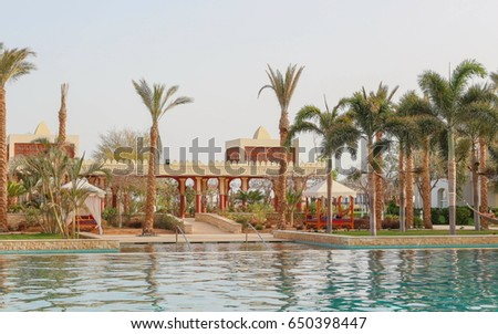 View over the beautiful buildings with pool #650398447