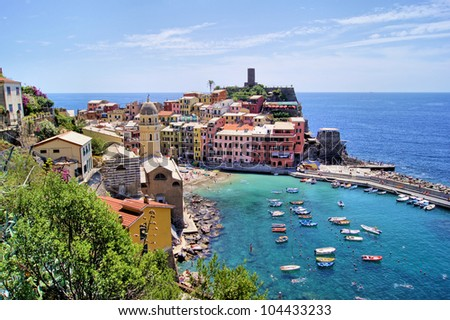 View over the Cinque Terre village of Vernazza, Italy