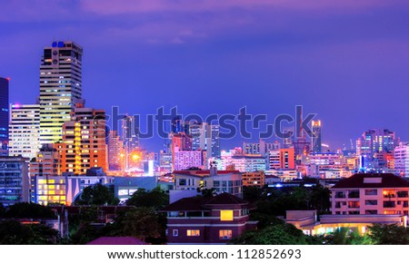 View over the city of bangkok at nighttime