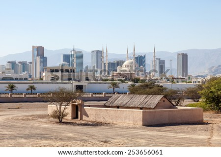 View over the city of Fujairah, Heritage Village in the foreground. United Arab Emirates