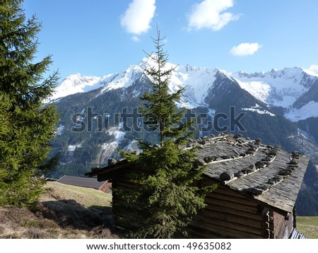 View over the cow stable to the alps - stock photo
