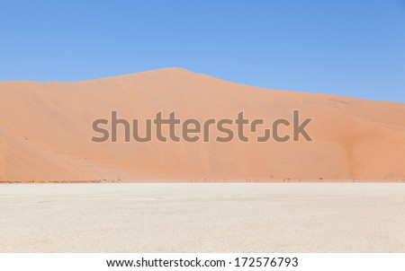 Stock Photo View over the deadvlei with the famous red dunes of Namib desert, Deadvlei (Sossusvlei), Namibia