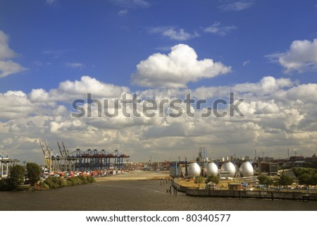 View over the Elbe at the Hamburg Industry Port