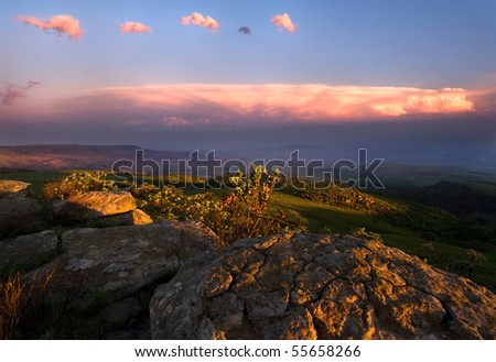 view over the escarpment at dusk in Drakensberg Mountains, South Africa
