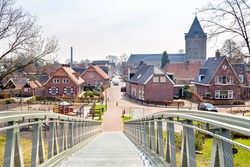View over the european village of Delden from the metal bridge