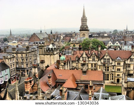 View over the historic buildings of the city of Oxford, England