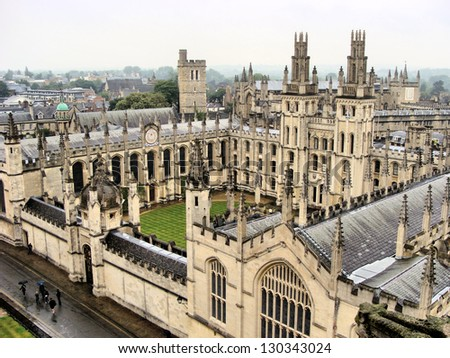 View over the historic university of Oxford, England