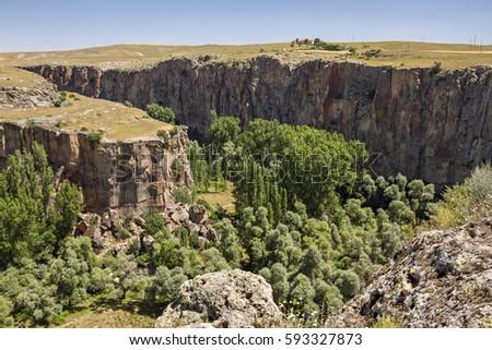 View over the Ihlara Canyon, Cappadocia, Turkey. #593327873