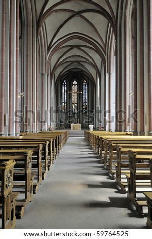 View over the inside of german church seen from the back of the church