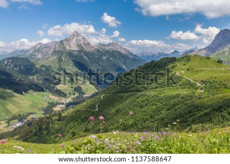 view over the Lechtal in the austrian Arlberg and Allgaeu area with mount Biberkopf in the background