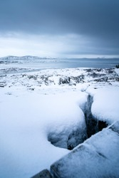 View over the loften iceland of ice and snow over Thingvellir National Park in Iceland. landscape along the golden cirlce