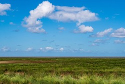 View over the marshland to the north sea, wonderful blue sky with white clouds, near Greetsiel, Germany