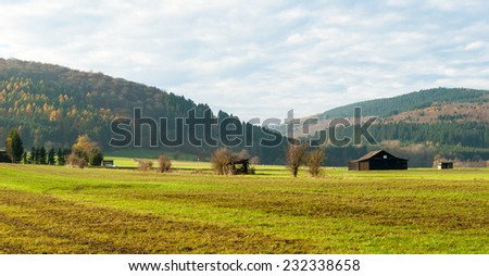 View over the meadows in the nature reserve Valley of Gelaengebach in Medebach, Sauerland, Germany #232338658