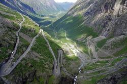 View over the mountainroad Trollstigen