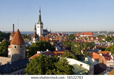 View over the Old Town of Tallinn, which is a UNESCO World Cultural Heritage site - stock photo