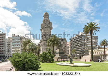 View over the Plaza Independencia toward the Palace de Salvo one of the land mark buildings of Montevideo, Uruguay. #1033231546