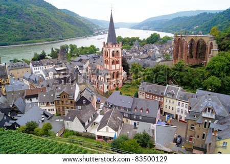 View over the quaint town of Bacharach along the famous Rhine River in Germany