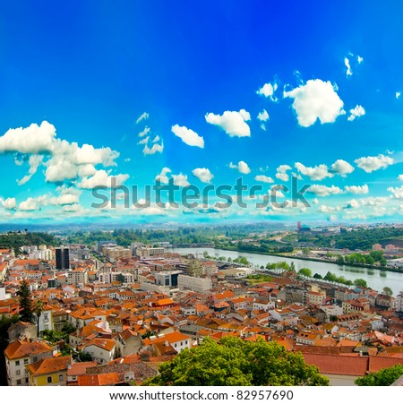 View over the red european roofs - stock photo