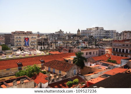 View over the red roofs of Havana Cuba