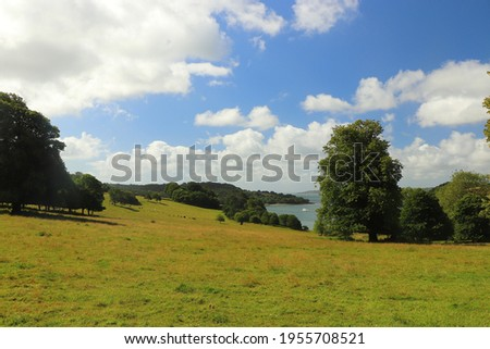 View over the river Fal from the meadows of Trelissick gardens Stock fotó ©
