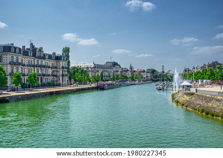 View over the river Meuse, Canal de l'Est, from the Pont Chaussee in the city of Verdun department of Meuse, in the region of Grand Est, France. HDR image Photo stock ©
