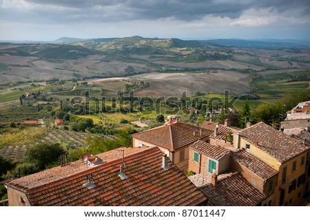 View over the rooftops in Montepulciano, Tuscany, Italy