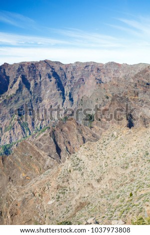 View over the rough rock walls of the Caldera de Taburiente in La Palma, Spain. #1037973808