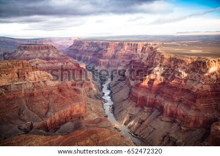 View over the south and north rim part in grand canyon from the helicopter, USA #652472320