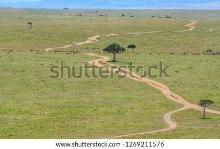 View over the vast plains of Masai Mara national reserve.  #1269211576