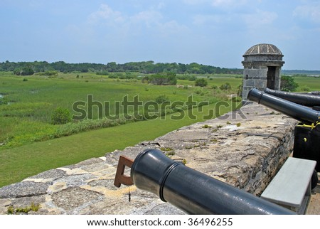 view over the wall of historic fort matanzas florida usa