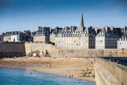 View over the walled city Saint-Malo from mole, Brittany, France