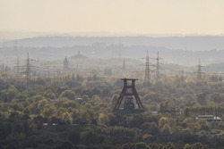 View over the winding towers in the Ruhr area