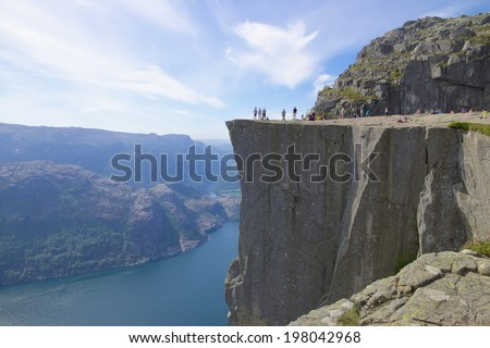 View over the world famous Preikestolen or pulpit rock over the Lysefjord Norway