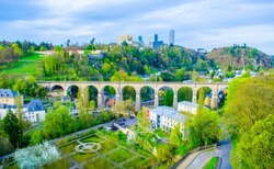 view over train bridge and surrounding area in the center of luxembourg city.