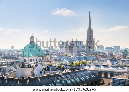 View over Vienna Skyline with St. Stephen's Cathedral at morning, Vienna, Austria Сток-фото ©