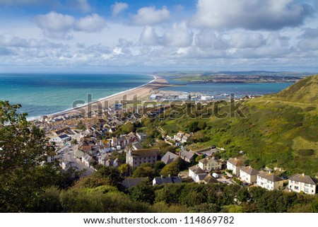 View over Weymouth, Portland and Chesil beach Dorset England