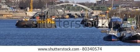 View over Wilhelmsburg Port Hamburg Germany