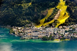 View over Zeller See lake. Center of the alpine city Zell am See, Austria, Europe.