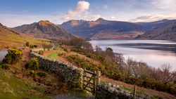 View overlooking Crummock Water in the Lake District, Cumbria, UK
