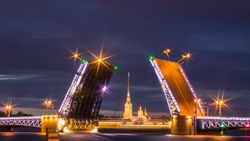 View Peter and Paul church on Palace bridge from night Sankt-Peterburg Russia