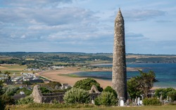 View Round Tower in Ardmore, County Waterford, Ireland