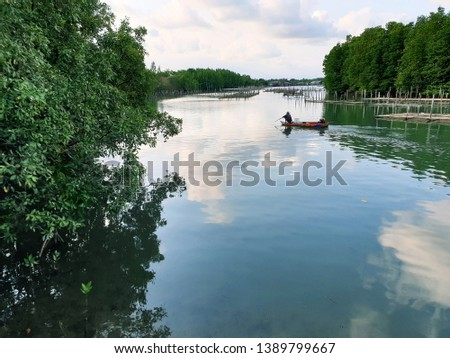 View sea scape and sky scape  of mangrove fishery at Prasae estuary, Rayong, Thailand #1389799667