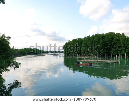 View sea scape and sky scape  of mangrove fishery at Prasae estuary, Rayong, Thailand #1389799670