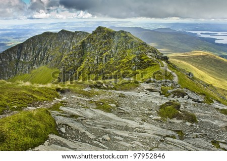 View south from the summit of Ben Lomond, Scotland - stock photo