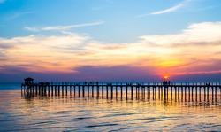 View the Gulf of Thailand bridge, sunset