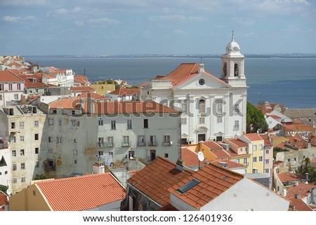 View the old neighborhood Alfama in Lisbon: Portugal