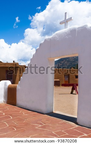 View through arch of San Geronimo church at Taos Pueblo, New Mexico